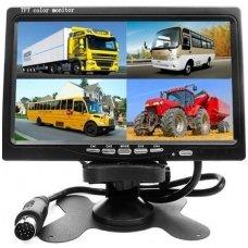 12V-24V Spec. technikos LCD 7.0 colių monitoriaus 1 - 4 kameroms su naktiniu matymu komplektas