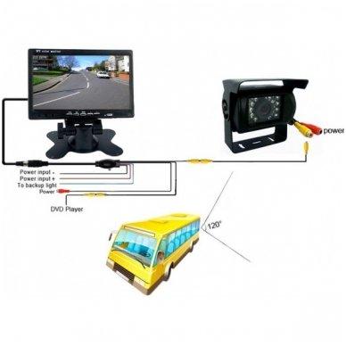 12V-24V 7 colių monitoriaus ir galinio vaizdo kameros su naktiniu matymu komplektas 6