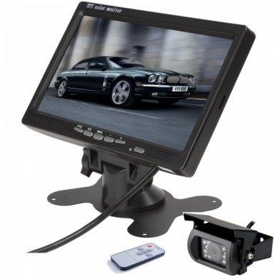 12V-24V 7 colių monitoriaus ir galinio vaizdo kameros su naktiniu matymu komplektas