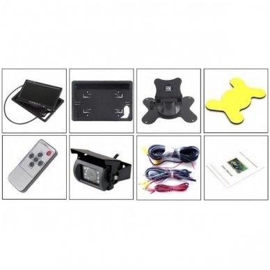 12V-24V Spec. technikos LCD 7.0 colių monitoriaus 1 - 4 kameroms su naktiniu matymu komplektas 5