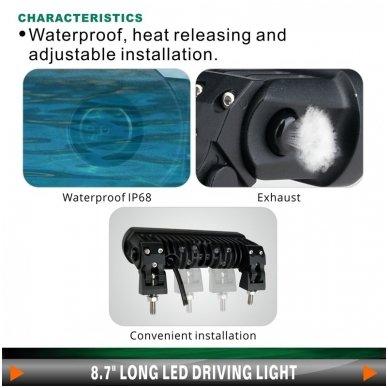 2x LED BAR sertifikuoti žibintai OSRAM-CRDP 2x40W 2x3135LM 12-24V (E9 HR PL) COMBO 2x22cm 13