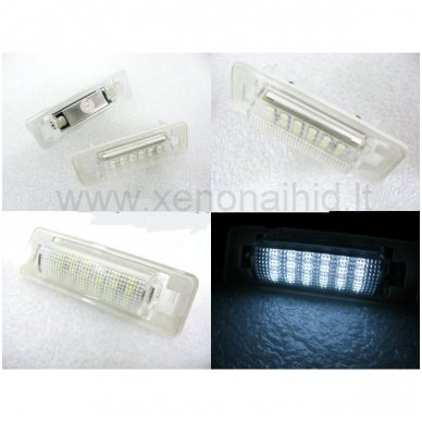 2X LED OEM ERROR-FREE NUMERIO APŠVIETIMAS Mercedes benz MB W210 4D Sedan, W202 4D Sedan Facelif 8 SMD 6000K 3