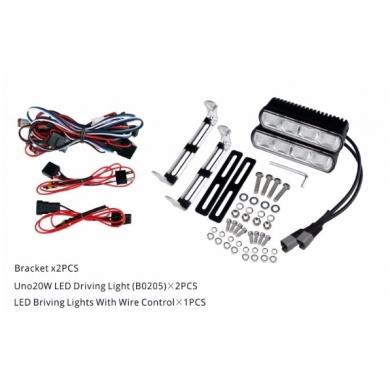 2x MINI LED BAR sertifikuoti žibintai OSRAM-CRDP 2x20W 2x1515LM 12-24V (E9 HR PL) COMBO 4