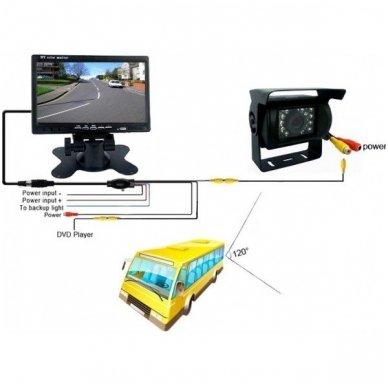 Belaidė 7 colių monitoriaus ir galinio vaizdo kameros sistema 12V/24V 6