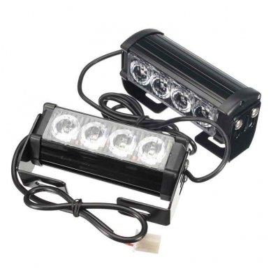 Įspėjamieji 2 LED žibintai lęšiniai švyturėliai raudona - mėlyna 7