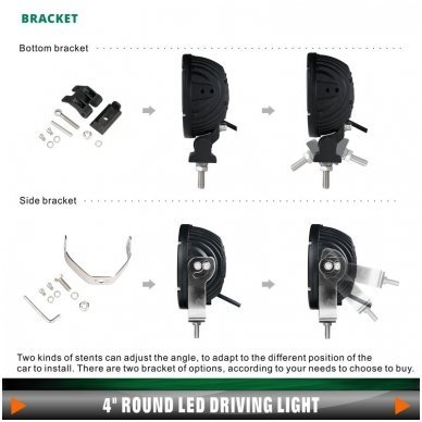 LED apvalus sertifikuotas žibintas 50W 5000LM 12-24V (E13 00 HR PL) FLOOD 10