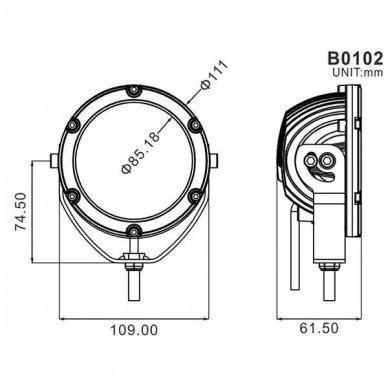 LED apvalus sertifikuotas žibintas 50W 5000LM 12-24V (E13 00 HR PL) FLOOD 5