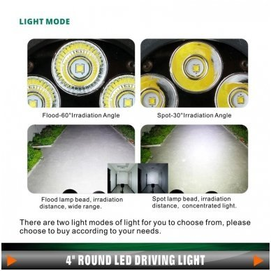 LED apvalus sertifikuotas žibintas 25W 2500LM 12-24V (E13 00 HR PL) SPOT 8