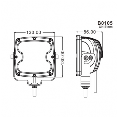 LED apvalus sertifikuotas žibintas 80W 8000LM 12-24V (E13 00 HR PL) SPOT 8