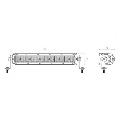 LED BAR sertifikuotas žibintas 60W 6000LM 12-24V (E9 HR PL) FLOOD 21cm 9