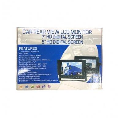 Spec. technikos LCD 7.0 colių monitorius 2 kanalų 12V-24V U-tvirtinimas 7
