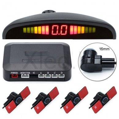 """4-ių įleidžiamų juodos spalvos jutiklių parkavimo sistema """"EAGLE"""" su LED ekranu 6"""