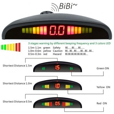 """4-ių įleidžiamų juodos spalvos jutiklių parkavimo sistema """"EAGLE"""" su LED ekranu 8"""