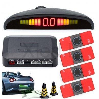 """4-ių įleidžiamų juodos spalvos jutiklių parkavimo sistema """"EAGLE"""" su LED ekranu"""