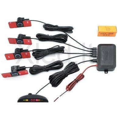 """4-ių įleidžiamų juodos spalvos jutiklių parkavimo sistema """"EAGLE"""" su LED ekranu 2"""