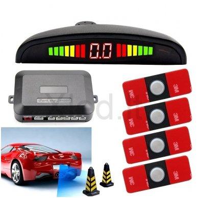 """4-ių įleidžiamų pilkos spalvos jutiklių parkavimo sistema """"EAGLE"""" su LED ekranu"""