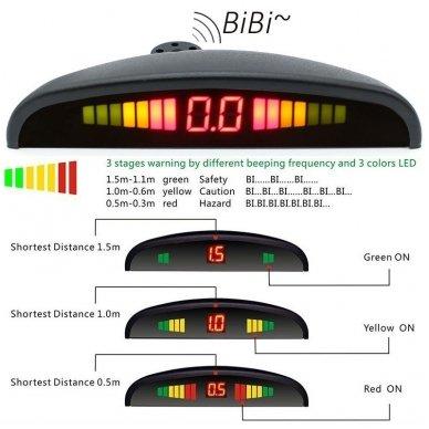 """4-ių įleidžiamų pilkos spalvos jutiklių parkavimo sistema """"EAGLE"""" su LED ekranu 7"""