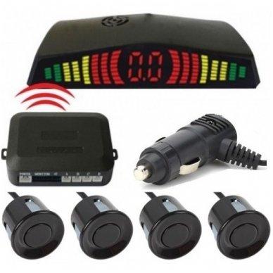 """4-ių juodų jutiklių parkavimosi sistema """"EAGLE"""" su belaidžiu LED ekranu"""