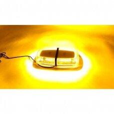 4D Oranžinis įspėjamasis galingas LED švyturėlis su magnetiniu padu 30W 12V-24V