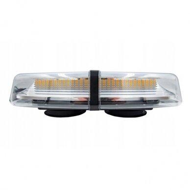 4D Oranžinis įspėjamasis galingas LED švyturėlis su magnetiniu padu 30W 12V-24V 7