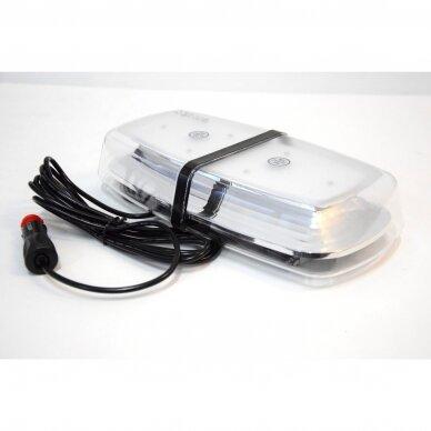 4D Oranžinis įspėjamasis galingas LED švyturėlis su magnetiniu padu 30W 12V-24V 9