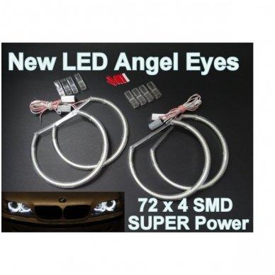LED 72 SMD Angel Eyes balti šviesos žiedai BMW E36 / E38 / E39 / E46 su lešiu iki facelift / E46 cuope 99-03 m 3