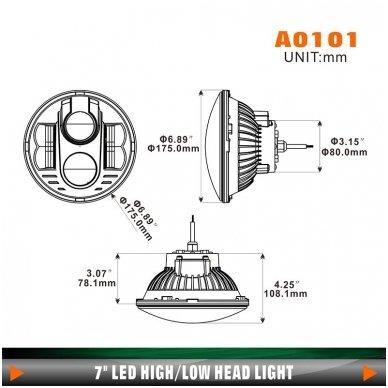 """7"""" LED HIGH/LOW + DRL priekinis sertifikuotas žibintas 20"""