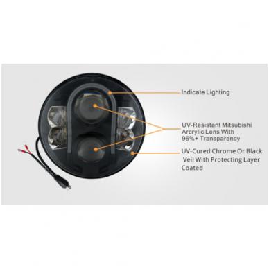 """7"""" LED HIGH/LOW + gabaritas (A02) priekinis sertifikuotas žibintas 14"""
