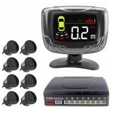 """8-ių juodų daviklių parkavimosi sistema priekiui ir galui su laidiniu LCD ekranu """"EAGLE"""""""