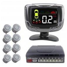 """8-ių pilkų daviklių parkavimosi sistema priekiui ir galui su laidiniu LCD ekranu """"EAGLE"""""""