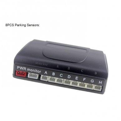"""8-ių juodų daviklių parkavimosi sistema priekiui ir galui su laidiniu LCD ekranu """"EAGLE"""" 5"""