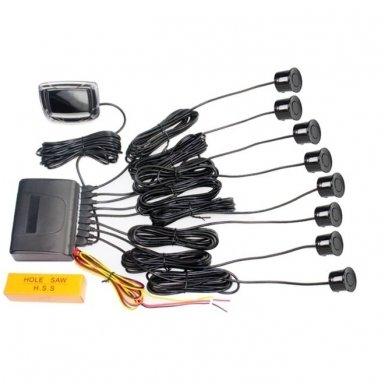 """8-ių juodų daviklių parkavimosi sistema priekiui ir galui su laidiniu LCD ekranu """"EAGLE"""" 7"""
