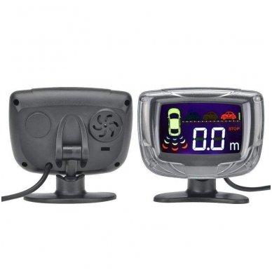 """8-ių juodų daviklių parkavimosi sistema priekiui ir galui su laidiniu LCD ekranu """"EAGLE"""" 8"""