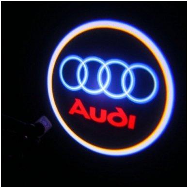 AUDI automobilio LED 3D logotipas šešėlis į duris šviečiantis ant žemės- įgręžiamas 2