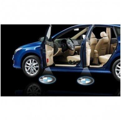 AUDI automobilio LED 3D logotipas šešėlis į duris šviečiantis ant žemės- įgręžiamas 7