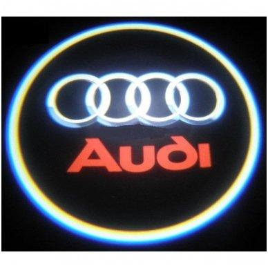 AUDI LED 3D originalus logotipas šešėlis į duris 3