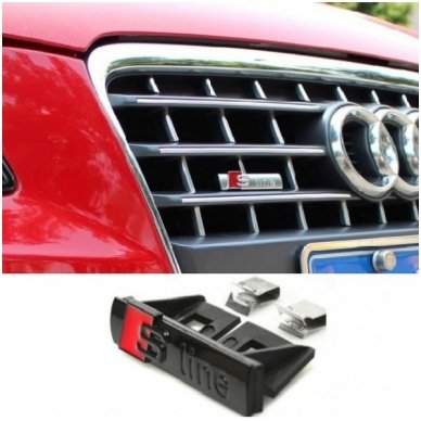 Audi S-line chrome juoda grotelių emblema 2