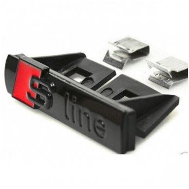 Audi S-line chrome juoda grotelių emblema