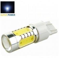 Balta LED W21/5W / T20 / 7443/ 7444 3+1SMD, 12v-24v, 7,5w keturių kontaktų lemputė su priekyje lęšiuku