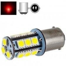 BAY15D- P21/5W, 2 kontaktai, 12V 4W 18 led SMD raudona gabaritų ir stabžių žibinto lemputė