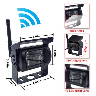 Belaidė 7 colių monitoriaus ir galinio vaizdo kameros sistema 12V/24V 3