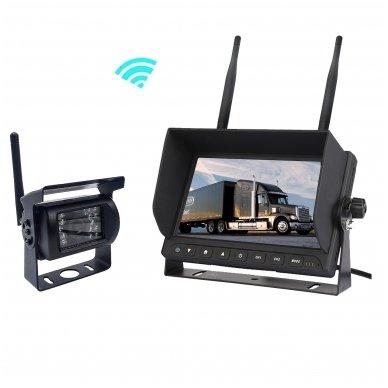 Belaidė 7 colių monitoriaus ir galinio vaizdo kameros sistema 12V/24V 7