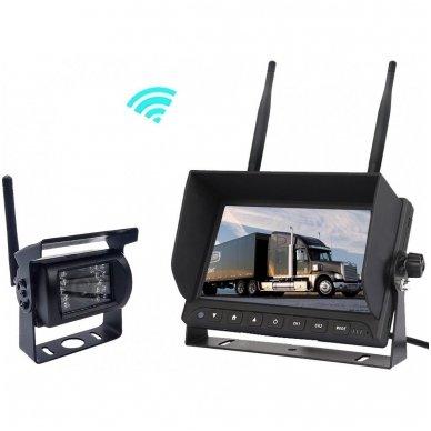 Belaidė 7 colių monitoriaus ir galinio vaizdo kameros sistema 12V/24V