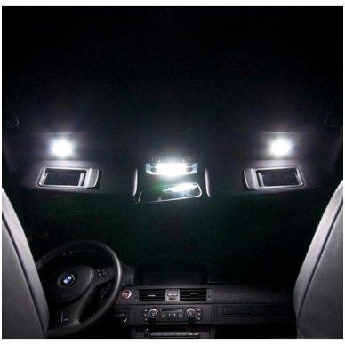 BMW 3 E46 LED salono apšvietimo lempučių komplektas 11