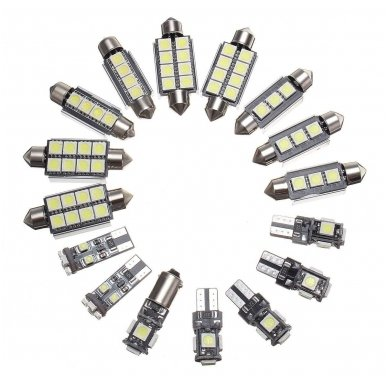 BMW 3 E46 LED salono apšvietimo lempučių komplektas 5