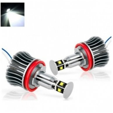BMW Angel Eyes H8 40W CREE LED markeriai CAN BUS - 1/E87, 1/E82 Coupe, 3/E90, 3/E92 Coupe, 3/E90 M3, 3/E92 M3, 3/E93, 5/E60, 7/F01/F02, E70 X5, E71 X6, E89 Z4