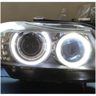 BMW Angel Eyes H8 40W CREE LED markeriai CAN BUS - 1/E87, 1/E82 Coupe, 3/E90, 3/E92 Coupe, 3/E90 M3, 3/E92 M3, 3/E93, 5/E60, 7/F01/F02, E70 X5, E71 X6, E89 Z4 2