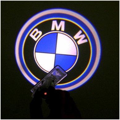 BMW automobilio LED 3D logotipas šešėlis į duris šviečiantis ant žemės- įgręžiamas 2