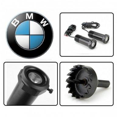 BMW automobilio LED 3D logotipas šešėlis į duris šviečiantis ant žemės- įgręžiamas