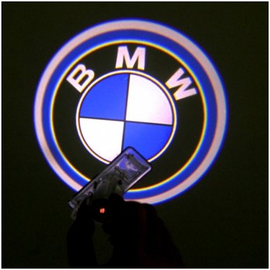 BMW LED 3D originalus logotipas šešėlis į duris 2